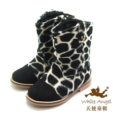 天使童鞋-D388 帥氣斑紋筒靴(中童)-黑