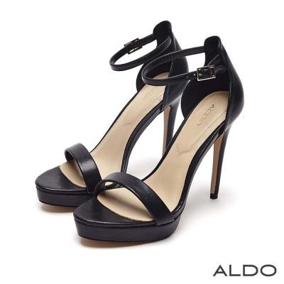 ALDO 原色一字厚底鏤空繫踝細高跟鞋~尊爵黑色