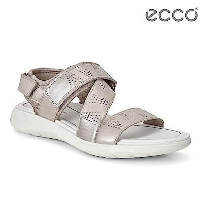 ECCO SOFT 5 SANDAL 女 魔鬼氈休閒涼鞋-灰