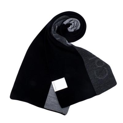 Calvin Klein CK 拼色壓印LOGO針織圍巾-黑灰色