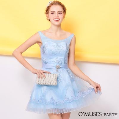 蕾絲蓬裙魚骨伴娘禮服-OMUSES