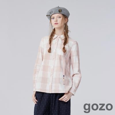 gozo 藝術家拼圖格紋長袖襯衫 (二色)