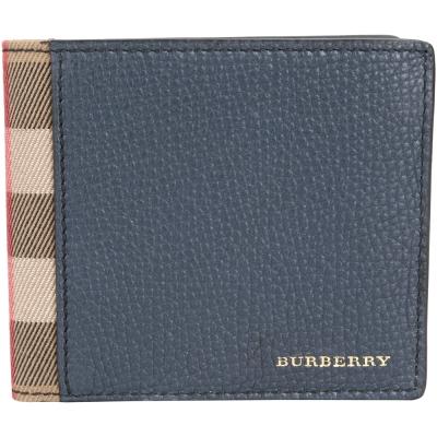 BURBERRY House 格紋拼接粒面小牛皮對折短夾(藍色)