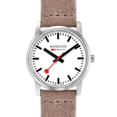 MONDAINE-瑞士國鐵-超薄系列腕錶-白x駝色