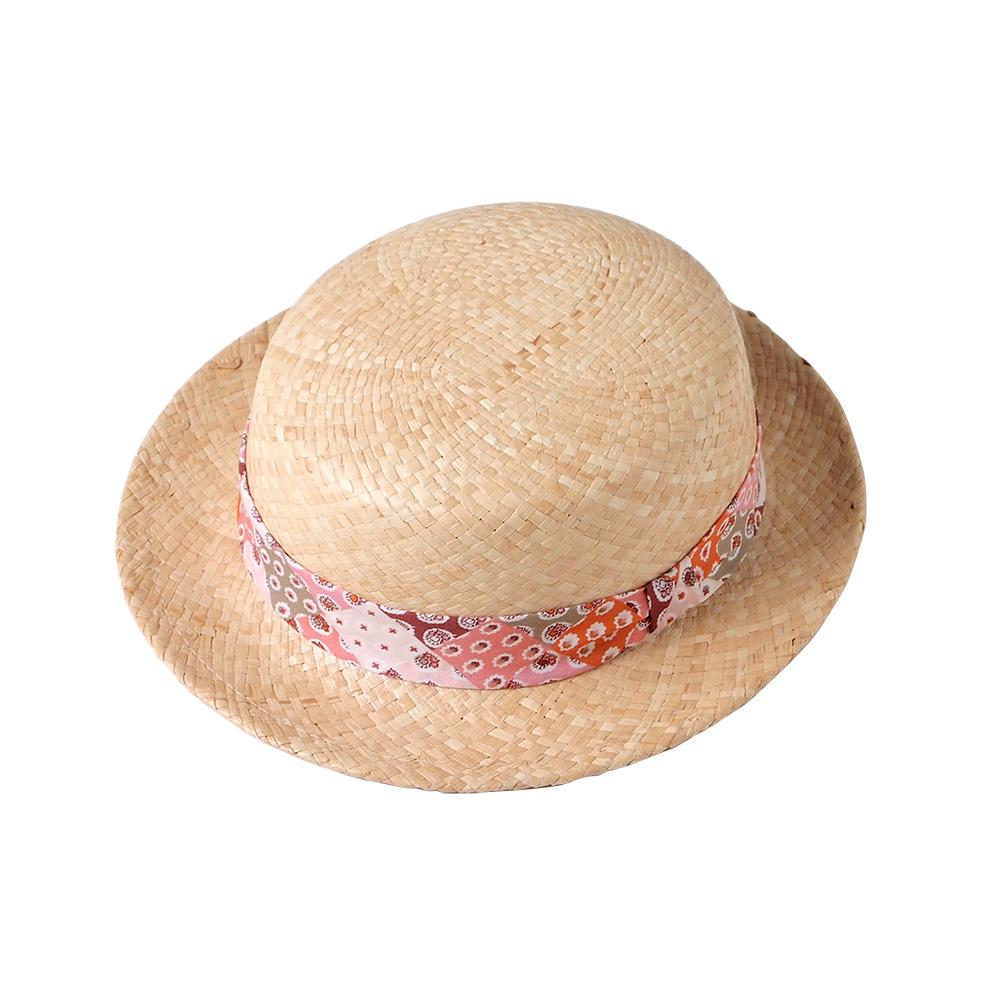 SOULEIADO 芙蓉花麥編草帽(瀲灩橘)