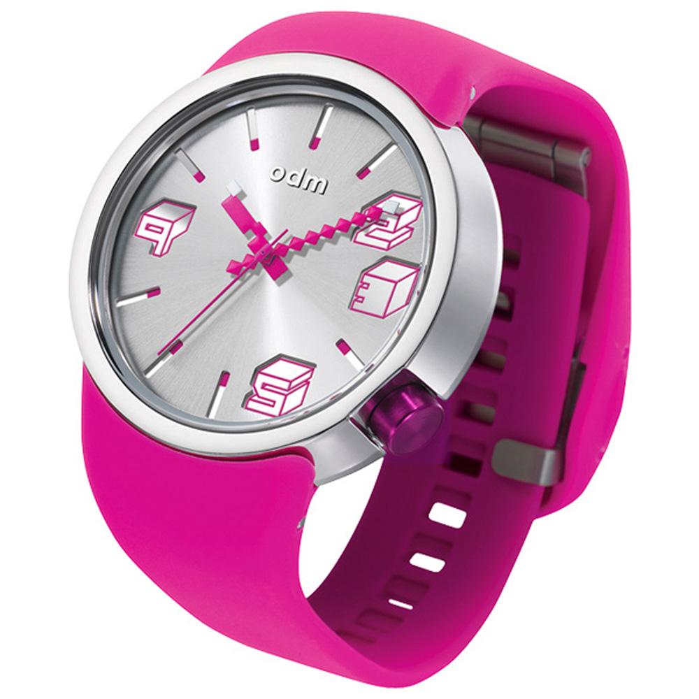 o.d.m. 立體方塊趣味腕錶-銀x桃紅/43mm