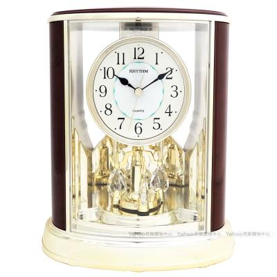 RHYTHM日本麗聲 歐風世紀經典宮廷裝飾座鐘(奢華木紋金)/24cm
