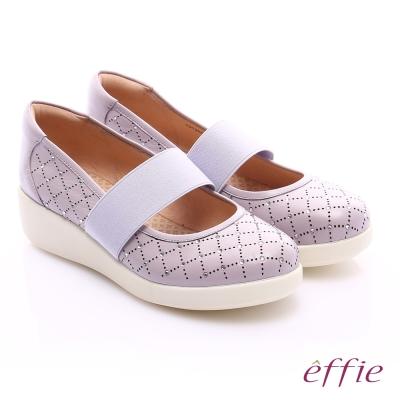 effie 挺麗氣墊 羊皮水鑽寬版鬆緊帶奈米休閒鞋 淺紫