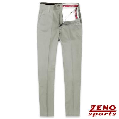 ZENO 彈力修身格紋無摺休閒長褲‧卡其30-42
