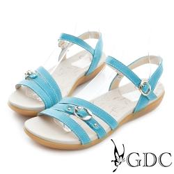 GDC-扣帶裝飾一字真皮楔型厚底涼鞋-藍色