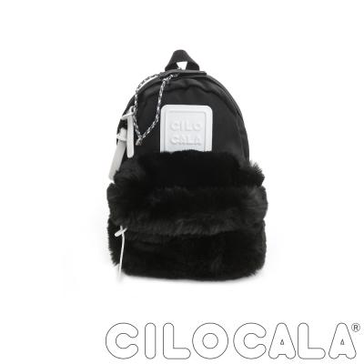 CILOCALA 限量版-亮彩尼龍毛毛防潑水後背包-黑色(迷你)