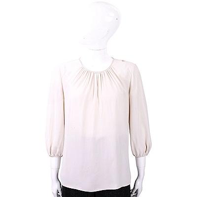 ELISABETTA FRANCHI 純色極簡米色抓摺細節雪紡上衣