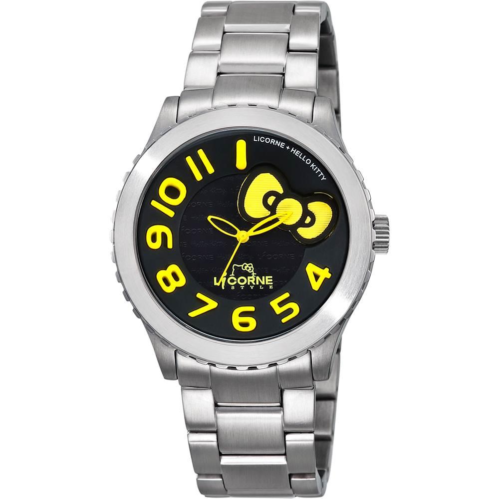 LICORNE+ HELLO KITTY 聯名系列 氣質淑女時尚腕錶-黑x黃/42mm