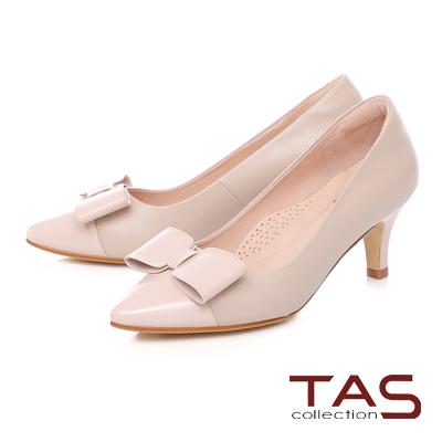 TAS 簡約蝴蝶結拼接高跟鞋-輕感膚