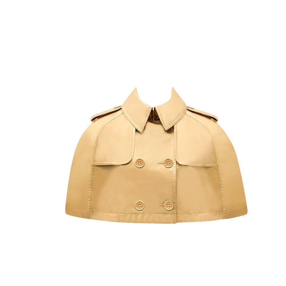 BURBERRY 英倫金屬亮澤雙排釦短版斗篷外套