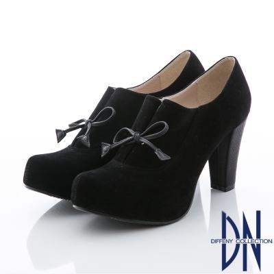 DN 優質美型 率性簡約蝴蝶絨布粗跟裸靴 黑