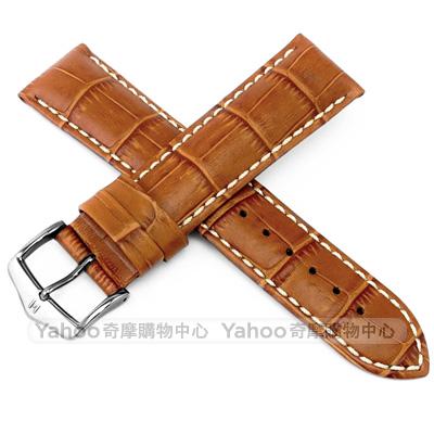 海奕施HIRSCH Modena L時尚壓紋小牛皮手錶帶-棕