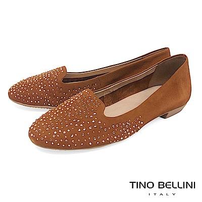 Tino Bellini 巴西進口閃耀水鑽舒適樂福鞋_ 棕