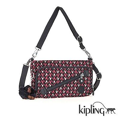 Kipling 手提包 磚紅幾何印花-小