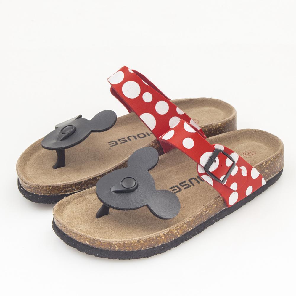 JMS-俏皮卡通軟Q厚底海灘夾腳休閒涼鞋-黑色米奇