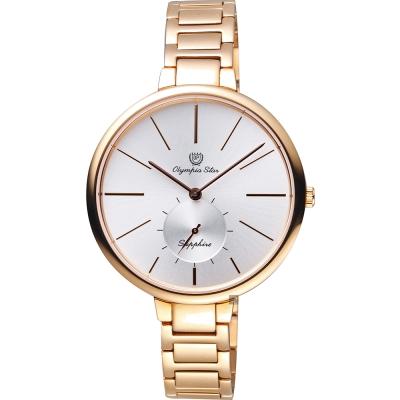 Olympia Star奧林比亞 超薄小秒針手錶-銀x玫瑰金/37mm