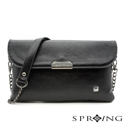 SPRING-簡約生活皮革兩用包-黑