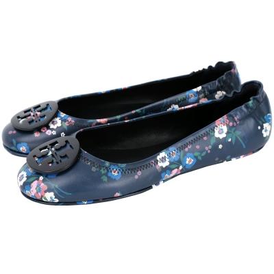 TORY BURCH Minnie Travel 盾牌飾花朵平底娃娃鞋(藍色)