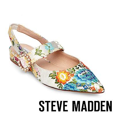 STEVE MADDEN-STORMY 尖頭珍珠圓扣低跟涼鞋-花草杏