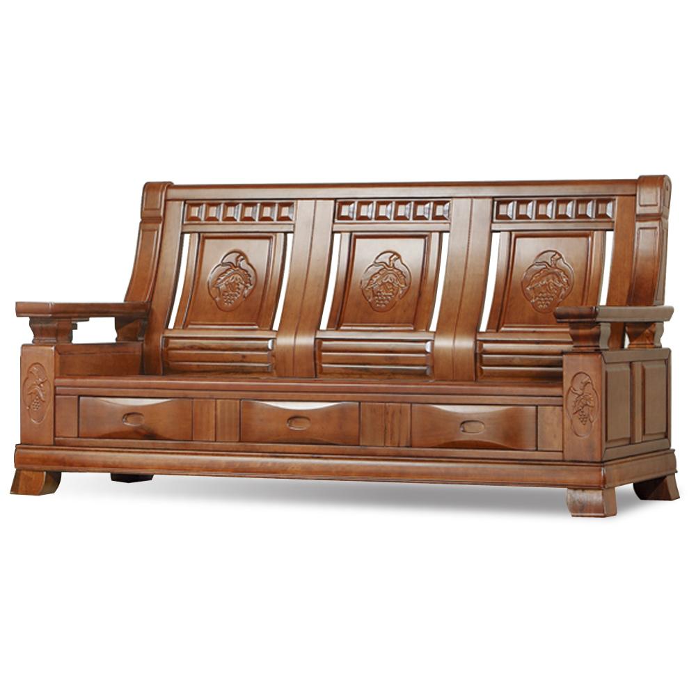 愛比家具 德夫實木三人椅(可收納)