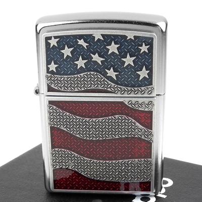 ZIPPO 美系~Diamond Plate Flag-花板美國國旗貼飾打火機