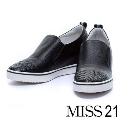 休閒鞋-MISS-21-織帶配色編織牛皮內增高休閒鞋-黑