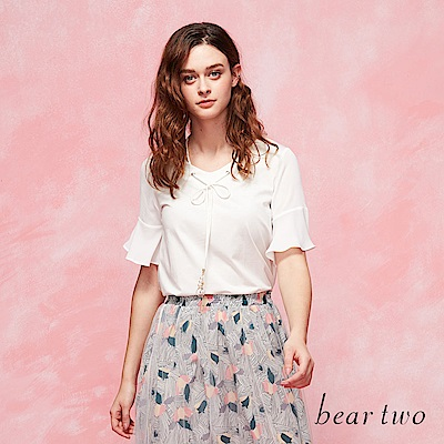 beartwo 穿繩V領波浪短袖上衣(二色)