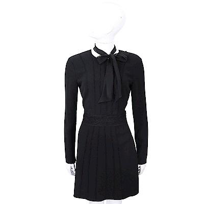 ELISABETTA FRANCHI 絲巾領巾細節黑色絲質洋裝
