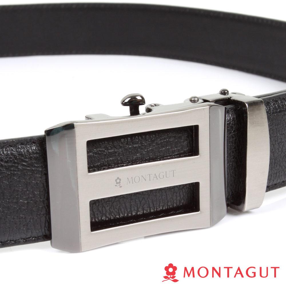 MONTAGUT夢特嬌-經典方框上下簍空Logo款-頭層牛皮自動扣皮帶-755