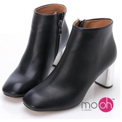 mo.oh 金屬跟方頭拉鏈短踝靴-黑