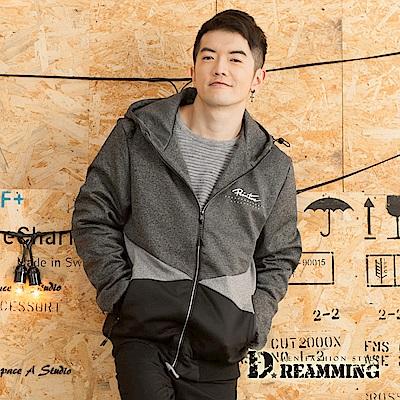 Dreamming 帥氣漸層拼色高彈絲休閒連帽外套-共二色