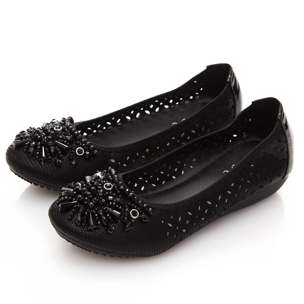 A one 鑽石串珠鏤空小坡跟鞋-黑色