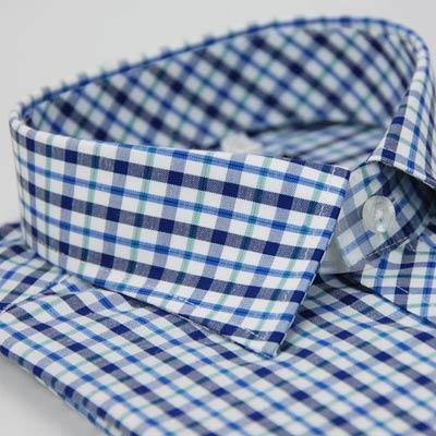 金‧安德森 藍綠白格窄版短袖襯衫