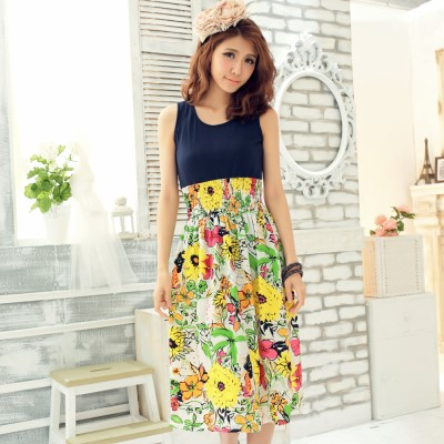 La Belleza熱情向陽‧豔彩向日葵拼接背心縮腰滑布長洋裝