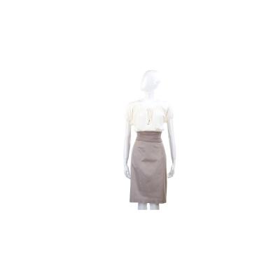 PAOLA FRANI 米x卡其色抓皺拼接設計短袖洋裝