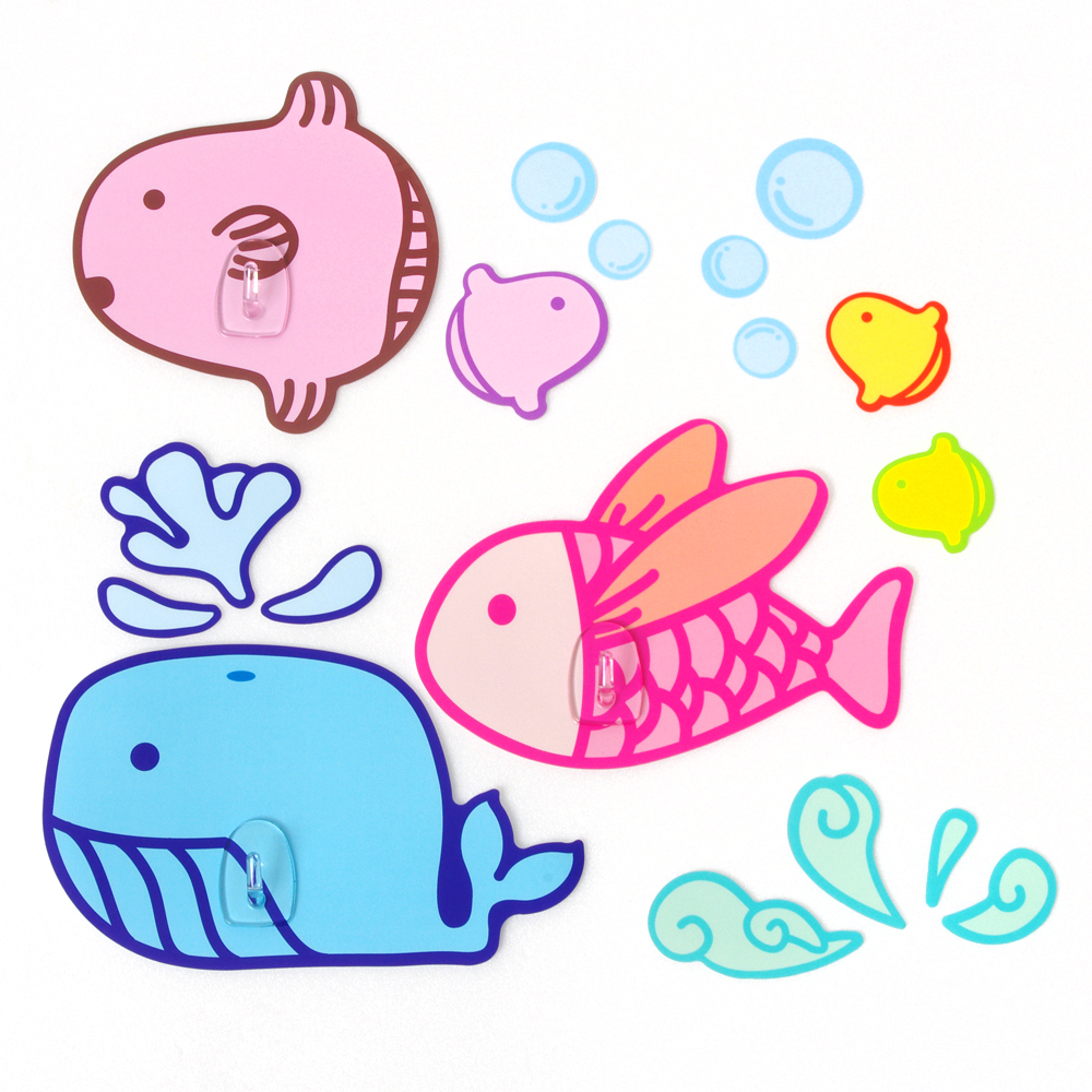 黏樂趣 NELO 卡通造形重複貼掛勾組(鯨魚)