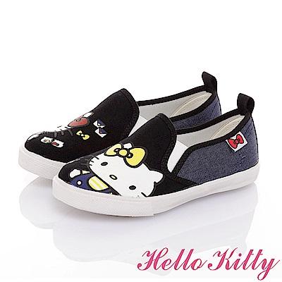 HelloKitty童鞋 雙胞胎系列 百搭舒適減壓防滑帆布懶人鞋-黑