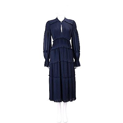 TORY BURCH Stella 蛋糕裙澎袖設計藍色細褶雪紡洋裝