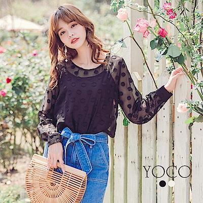 東京著衣-yoco 點點女孩輕薄微透膚兩件式上衣-S.M.L(共二色)