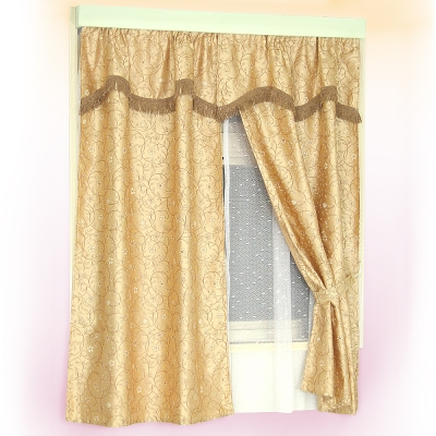 布安於室-藤蔓雙層穿管式窗簾-咖啡