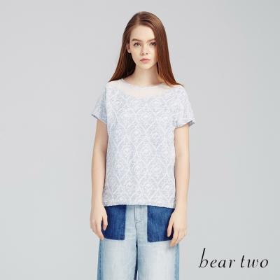 beartwo 宮廷風緹花拼接微透網紗上衣(淺藍)-動態show