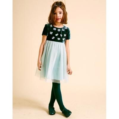 I Love Gorgeous 絲絨立體小花短袖紗裙洋裝-湖水綠