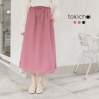 東京著衣 多色簡約開岔腰身綁帶長裙-S.M.L(共三色)