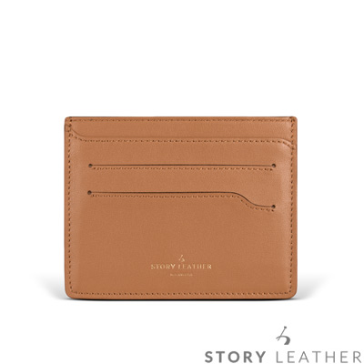 STORYLEATHER 多功能卡套 91155-A182小牛皮素紋淺茶+烙印服務