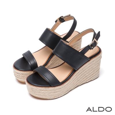ALDO-休閒原色後拉帶式麻花編織楔型跟涼鞋-黑色